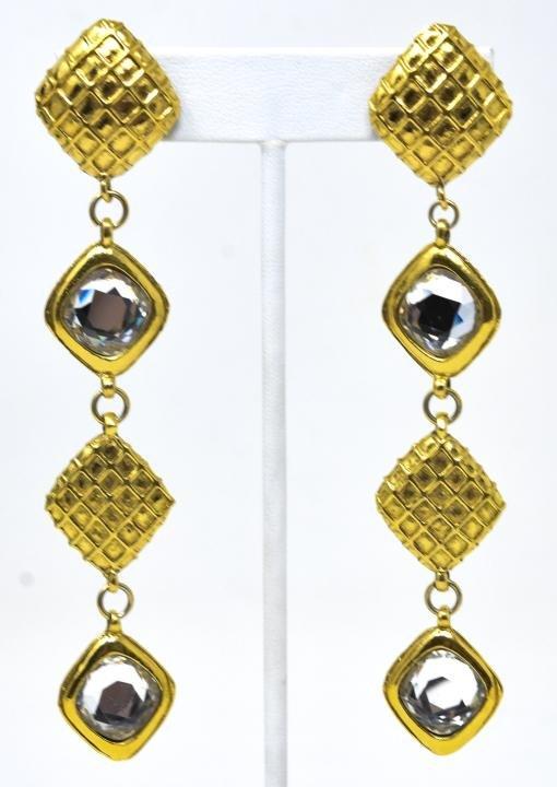 Pair Vintage Chanel Matelasse Clip On Earrings
