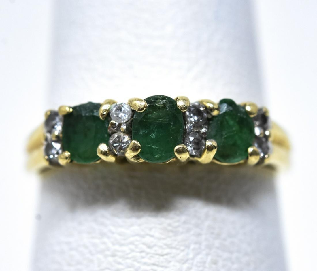 14kt Gold & Emerald Diamond Ring