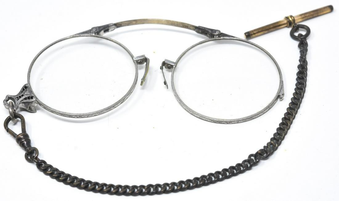 Antique 19th C 14k Gold Lorgnette Glasses & Chain