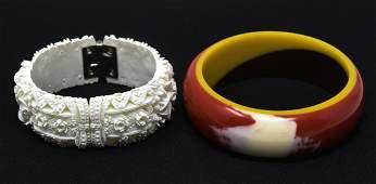 Vintage Clamper & Marbled Acrylic Bracelet