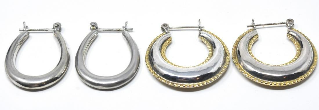 Two Pairs of Vintage Sterling Silver Hoop Earrings