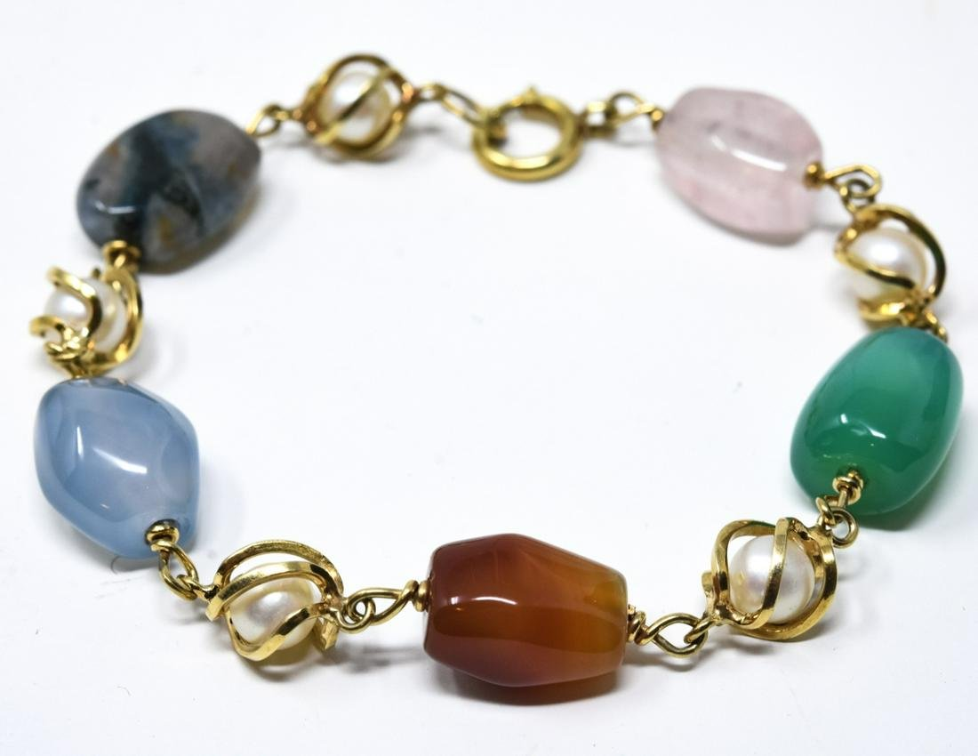 Estate 14kt Yellow Gold Agate & Pearl Bracelet
