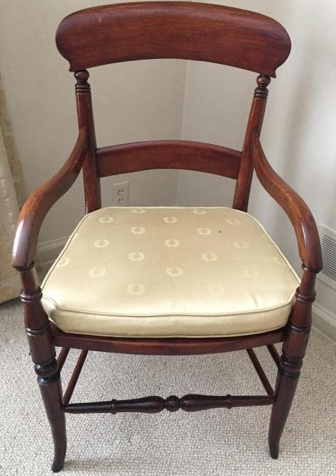 Antique Carved English Empire Upholstered Chair