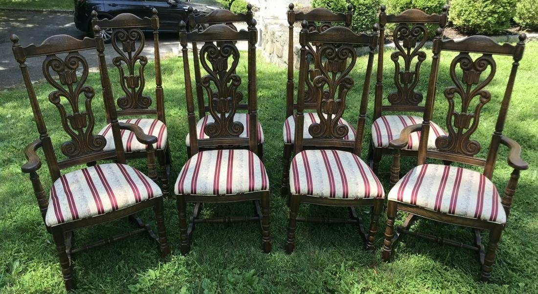 Set of Eight Carved Oak Dining Room Chairs