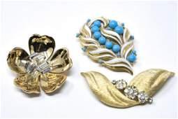 Three Vintage Gilt Metal Brooches by Trifari