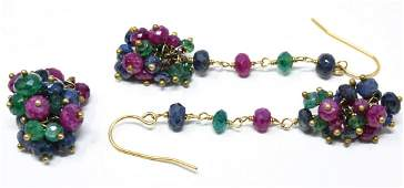 Pair of 14k Gold Ruby Sapphire Emerald