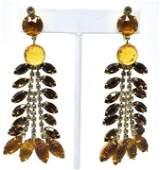 Pair of Vintage C 1960s Clip on Costume Earrings