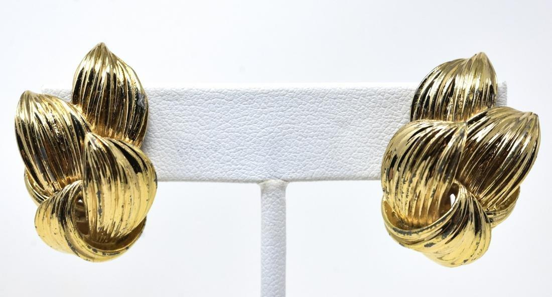 Pair of Vintage Gilt Metal Ciner Clip on Earrings