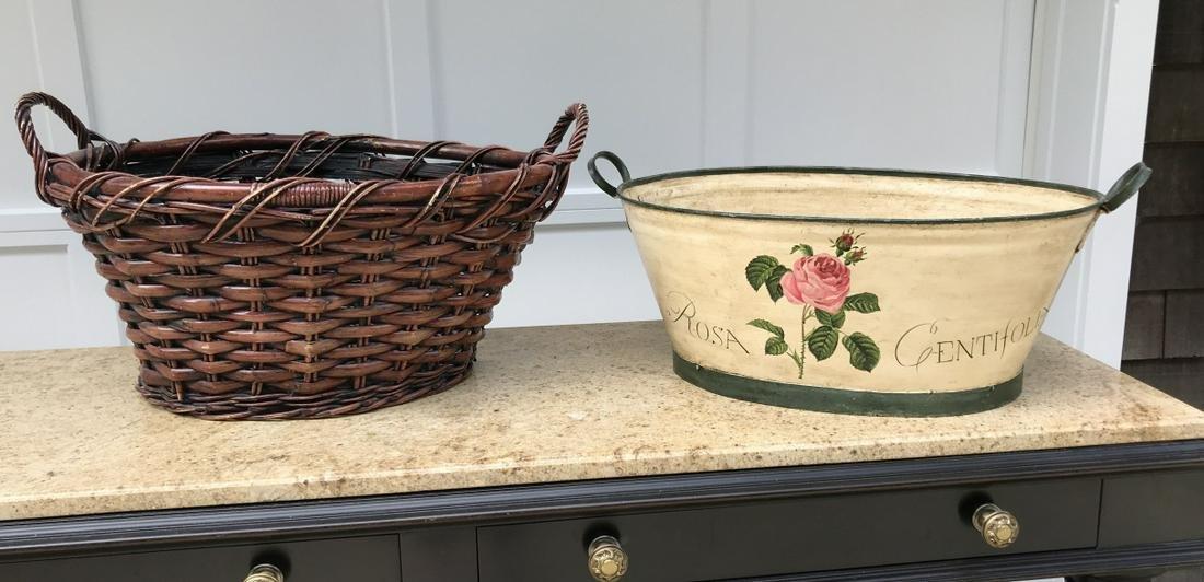 Large Handmade Basket & Tole Metal Cache Pot