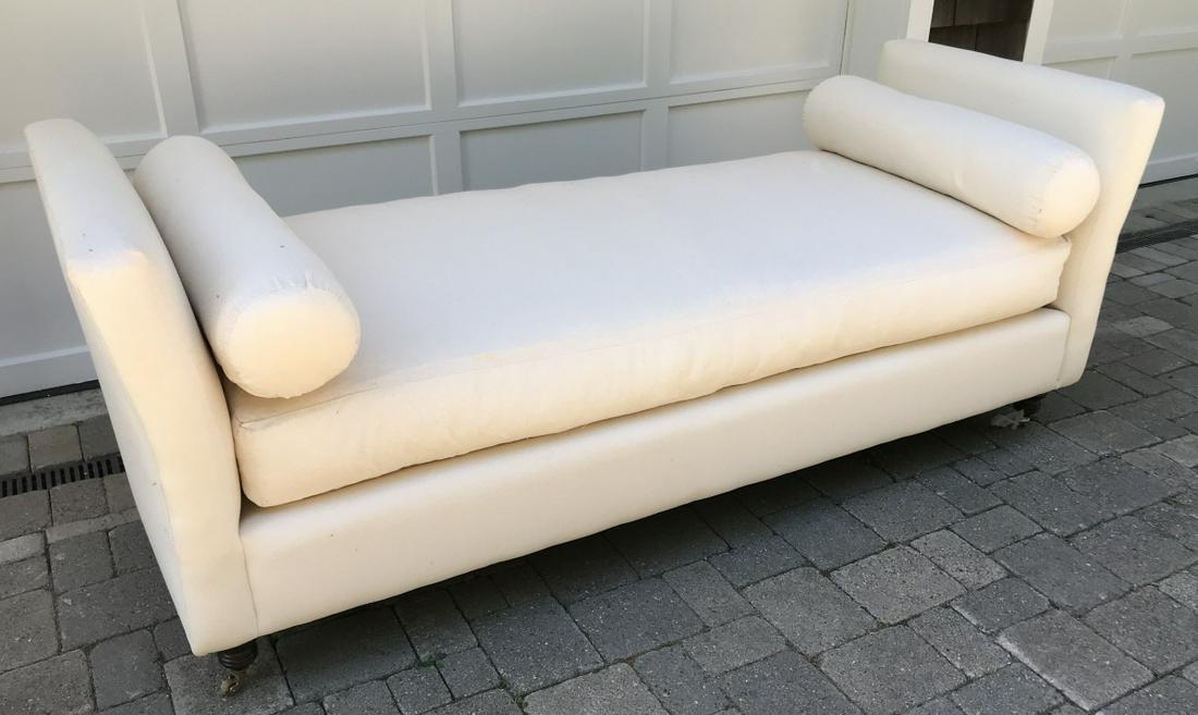 Contemporary Day Bed / Bench w Carved Bun Feet