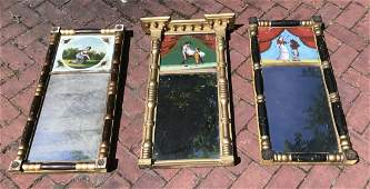 Three Antique 19th C American Empire Style Mirrors