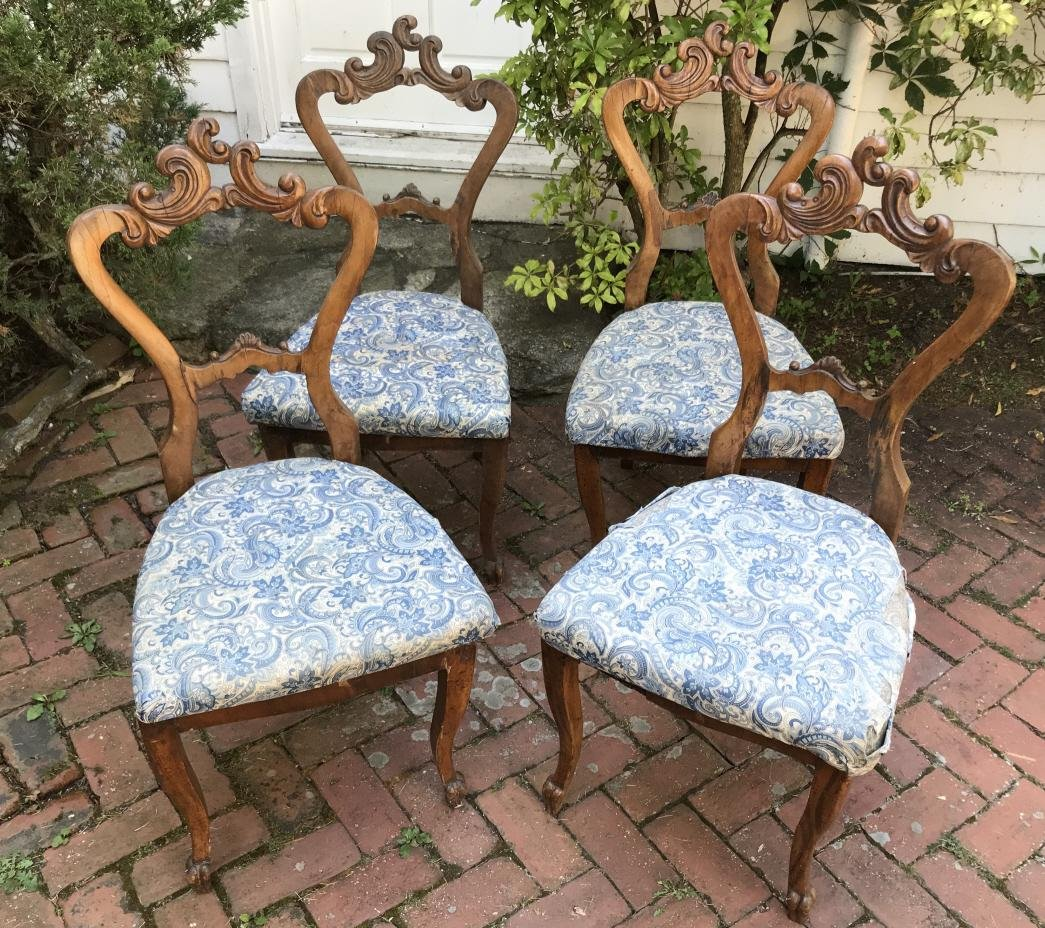 Four Antique 19th C Carved Italian Side Chairs