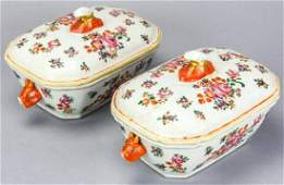 Pair Chinese Export Famille Rose Boar Head Tureens