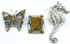 Three Sterling Pins - Seahorse, Butterfly & Cameo