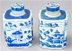 Pair Chinese Canton Blue  White Porcelain Caddies