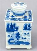 Chinese Canton Blue  White Porcelain Tea Caddy