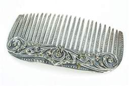 Vintage Sterling Silver  Marcasite Comb