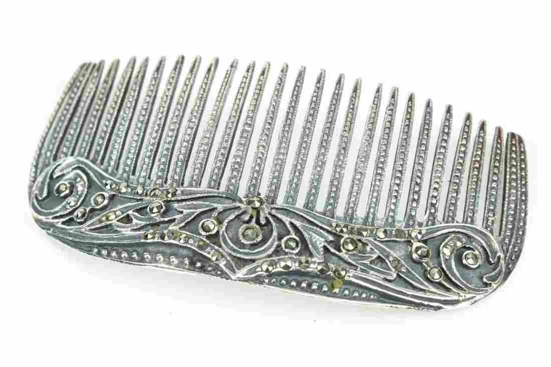 Vintage Sterling Silver & Marcasite Comb