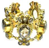 Hand Crafted Gold Sterling  Smoky Quartz Bracelet