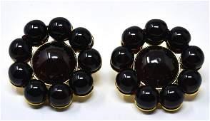 Pair C 1992 Chanel Dark Garnet Glass Bead Earrings