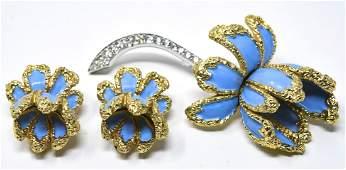 Jomaz 3D Flower Pin & Pair Clip Earrings Set