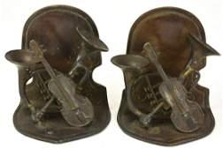 Pair Bronze Book Ends w Musical Instrument Motif