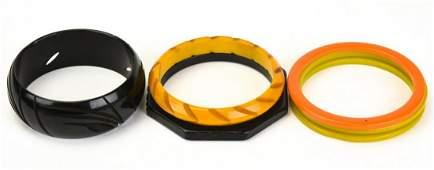 Collection Vintage Bakelite Carved Bracelets