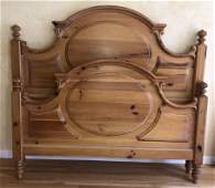 French Country Carved Pine Queen Head  Foot Board