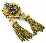 Antique 19 C 14kt Gold  Gold Filled Enamel Brooch