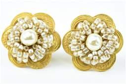 Pr Vintage Miriam Haskell Costume Jewelry Earrings
