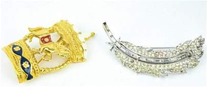 Two Vintage Trifari Costume Jewelry Brooch Pins