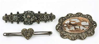 Three Antique  VIntage Pins Including Sterling