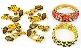 3 Gilt Metal  Colored Rhinestone Costume Bracelet
