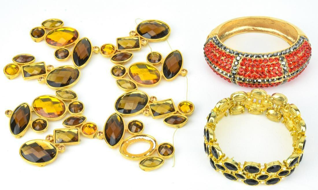 3 Gilt Metal & Colored Rhinestone Costume Bracelet