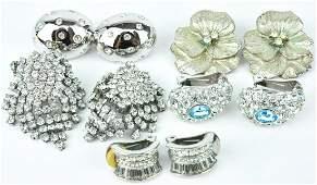 Silver Tone & Rhinestone Clip on Earrings