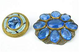 Antique Gilt Metal  Paste Stone Brooch Pins
