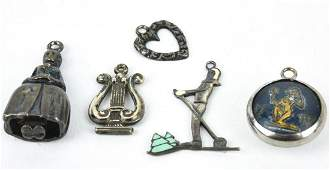 5 Vintage Sterling Silver Charms or Pendants