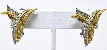 Ciner Textured 2 Tone Rhinestone Clip Earrings
