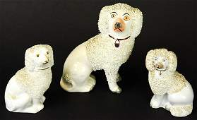 Antique Hand Painted Porcelain Staffordshire Dogs