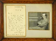Author James Matthew Barrie Framed Signed Letter
