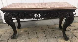 French Rococo Heavily Carved Marble Top Console