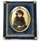 Antique 19th C Blue Velvet Picture Frame w Photo