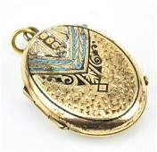 Antique 19th C 10KT Gold & Enamel Locket Pendant