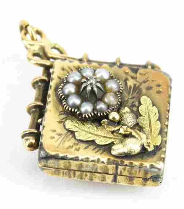 Antique 19th C 10KT Gold Locket w Diamond