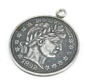 Antique Sterling 1892 Love Token Coin Pendant