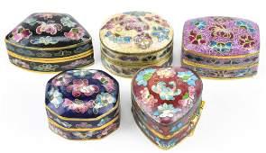 Set of Five Cloisonne Enamel Pill  or Snuff Boxes