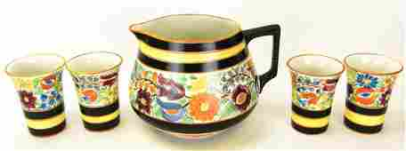 Italian Pottery Hand Painted Pitcher  Cups