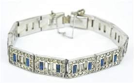 Antique Art Deco Rhodium Plated Bracelet