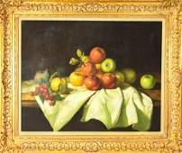 Contemporary Framed Fruit Still Life Oil Painting