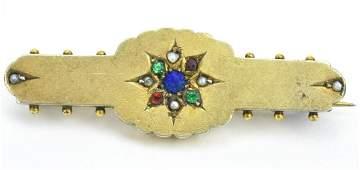 Antique 19th C 10KT Yellow Gold Bar Brooch
